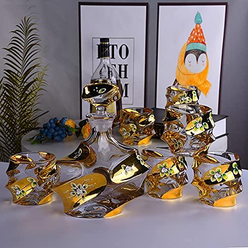 Gafas de whisky, conjunto de vinos hechos a mano de color y esmalte, copa de vino extranjero, vidrio de cristal de cristal de cristal, botella de 740 ml, gafas de 60