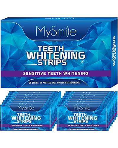 MySmile Teeth Whitening Strips, White Strips Teeth Whitening Kit, Non-Sensitive 14 Sets Teeth Whitener for Tooth Whitening, Helps to Remove Smoking Coffee Soda Wine Stain, Up to 10 Shades Whiter