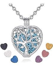 INFUSEU Heart Essential Oil Diffuser Necklace Lava Stone Aromatherapy Locket Pendant Jewelry Set for Women, 7 Pcs Lava Rocks, 24 Inch Chain