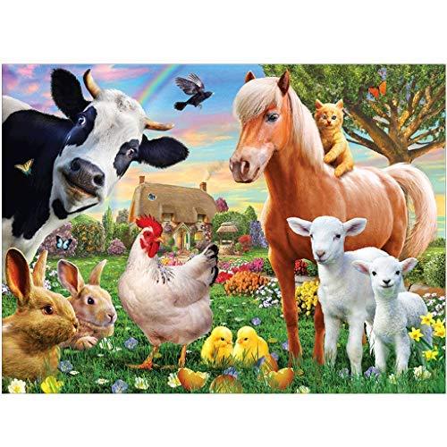 Cuadros de punto de cruz de diamantes bordado diamantes 5D. kit de pintura animal caballo oveja gallo numeros manualidades punto de cruz por numeros decoracion para salon 30x30cm