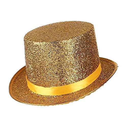 GEMVIE Sombrero de Copa Dorado Disfraz Mago Unisex Hombre Mujer Gorro Mágico Fiesta Juego Cosplay Circunferencia /58-60cm