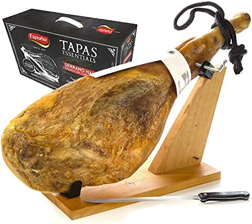 Serrano Ham Bone in from Spain 15 17 lb with Ham Stand Knife Cured Spanish Jamon with NO Nitrates product image
