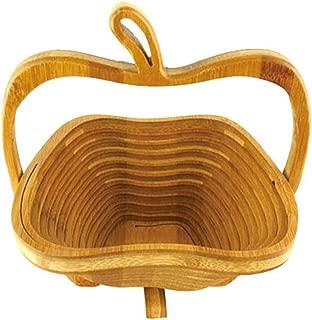Meiyum Collapsible Apple Shaped Bamboo Basket, Expandable Collapsibl Fruit Display Fruits Vegetable Storage Basket Holder