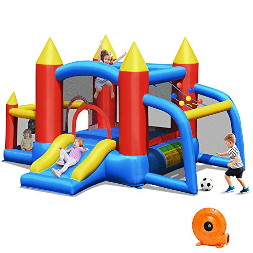 BOUNTECH Inflatable Bounce House, 6 in 1 Bouncer w/ Large Jumping Area, Slide, Including Carry Bag, Repair Kit, Stakes, Ocean Balls, Bouncy Castle for Indoor/ Outdoor (with 740W Air Blower)