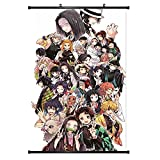 Demon Slayer Scroll Painting Wall Art with Hanger Frame,Hanging Canvas Poster For Home Decor,Japanese Anime Theme Art Print Decorations For Bedroom, Living Room (16x24 Inch )
