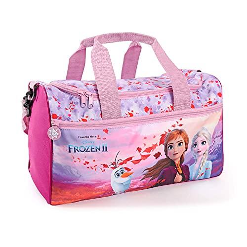 Eiskönigin Sporttasche für Kleine Mädchen - Frozen 2 Kinder Schwimmtasche Wasserdicht mit Anna ELSA Olaf - Umhängetasche Duffel Bag Violett Rosa für Kleinkind Kindergarten - 35x22x15 cm - Perletti