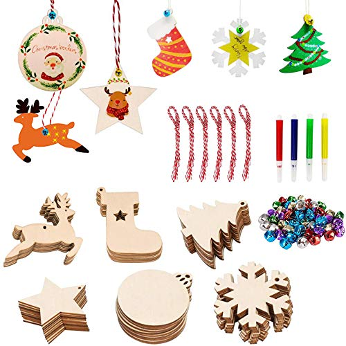 60pcs Wooden Christmas Ornaments, Unfinished Wood Slices with Holes for Kids, DIY Crafts Centerpieces Holiday Christmas Tree Hanging Decorations with 40PCS Colorful Bells