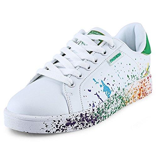 Casual Verf Splashing Decoratie Lace Up Sneaker voor Vrouwen