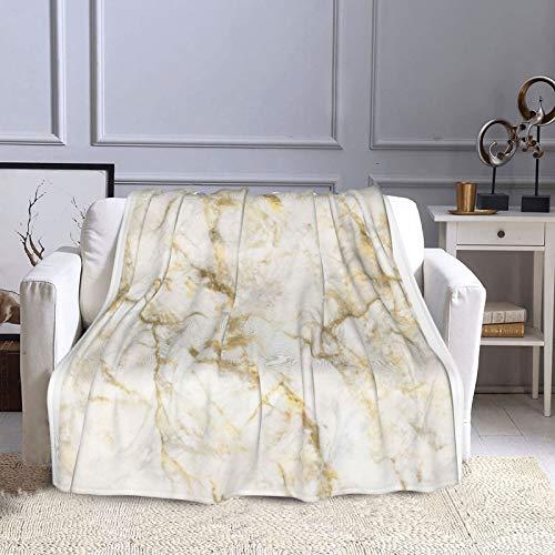 KCOUU Couverture polaire de luxe 127 × 152 cm - Motif marbre doré et blanc - Couverture décorative pour canapé, lit, canapé, voyage, maison, bureau, toutes saisons