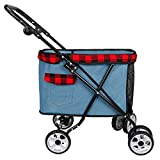 (Newox) ペットカート ペットバギー ペット用 リード付き 子どもも押す可能 (ブルー)