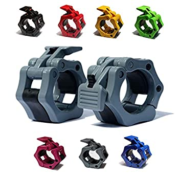 """AbraFit 2"""" Olympic Barbell Clamps - Solid ABS Locking Barbell Collars with Quick Release - for Professional Training Strong Lifts and Olympic Training- Set of 2  Gray"""