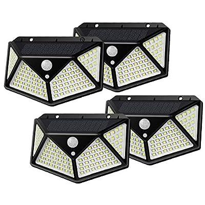 LED Solar Outdoor Lights Pack of 2, Motion Sensor, IP65 Waterproof, Easy Installation, Triple Mode Function for Front Door, Garage, Patio, Deck or Backyard