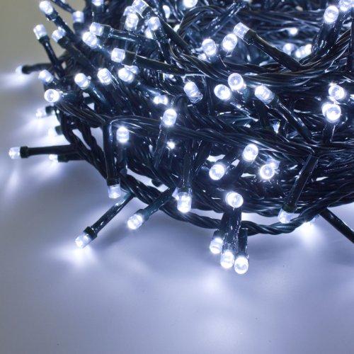 XMASKING Catena 24,5 m, 600 LED Bianco Freddo, con Memory Controller, Cavo Verde, 24V, Esterno