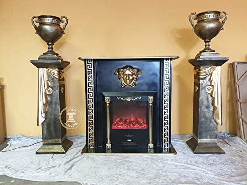 Deko-Meister Wohnwand Rom Kamin Elektrokamin Medusa Säule Barock Vase Antik Look