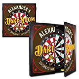 THOUSAND OAKS BARREL CO.   Personalized 'Dart Room - No Cheating No Fighting' Dartboard & Cabinet Set with 6 Steel Tip Darts   Home Bar Wall Art, Game Room Family Fun