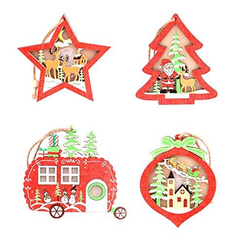 Decoración de Navidad, colgantes de árbol de Navidad, de madera, luminoso, pequeño árbol, 4 luces de Navidad para mujeres, hombres, niñas, regalos de Navidad para fiestas en el hogar