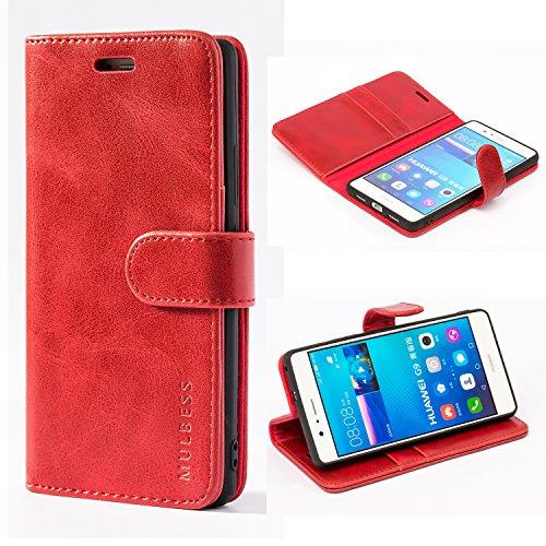 Mulbess Handyhülle für Huawei P9 Lite Hülle Leder, Huawei P9 Lite Handy Hülle, Vintage Flip Handytasche Schutzhülle für Huawei P9 Lite Hülle, Wein Rot
