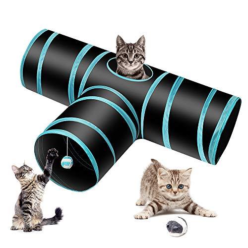 Donghoodshop Juguetes Gatos Tunel Gato Pet Tunnel 3 Way Crinkle Tubo Plegable Toy Túnel con Tres vías Túnel Juego para Gatos, Conejos, Gatitos, cobayas al Aire Libre