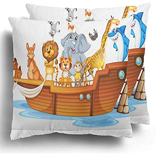 GodYo Gooi Kussenslopen 1 pak Kangoeroe van veel dieren op boot Noah schip Arc Vogel Cartoon Kip Clipart