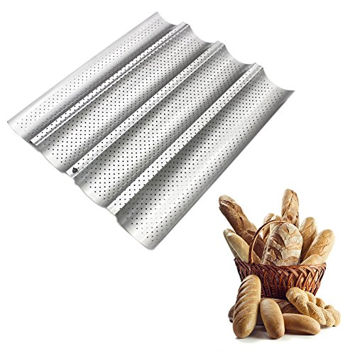 Nonstick French Bread Pan for 4 Baguettes Heavyduty Carbon Steel FDA Approved UShape Oven Roasting Baking Mould Silver
