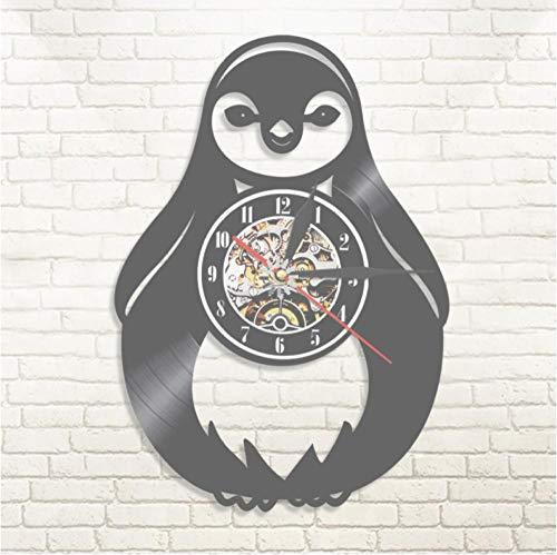 Hopeyard Cartoon Pinguïn Muur Klok Zee Leven Dier Zuid-Afrika Vogel Water Jackass Zoogdier Vinyl Record Muur Klok Kid Room Muurdecoratie