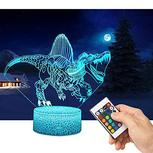 LED Lámpara de Mesa 3D Dinosaurio con Control Remoto Sensor Tacto, QiLiTd Regulable Lámpara de Noche de Atmósfera Modo RGB, Decoracion Cumpleaños, Navidad Regalos de Mujer Bebes Hombre Niños A