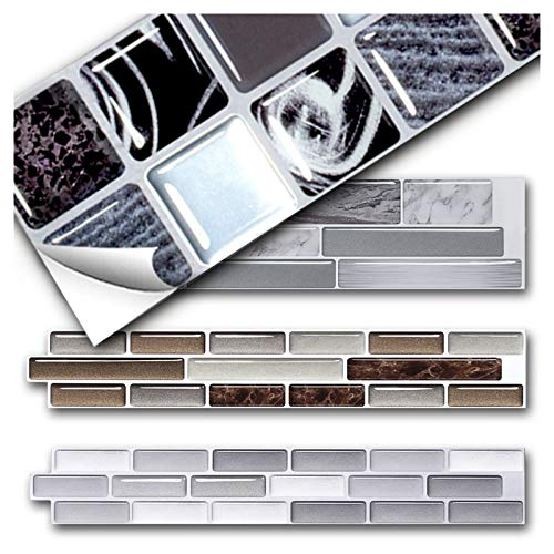 Grandora 5 Stück 25,2 x 5 cm Fliesenaufkleber Silber schwarz braun marmoriert Mosaik I 3D Selbstklebende Fliesen Küche Bad Wandaufkleber Fliesendekor W5571