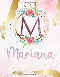 Mariana: Personalized Sketchbook with Letter M Monogram & Initial/ First Names for Girls and Kids. Magical Art & Drawing S...