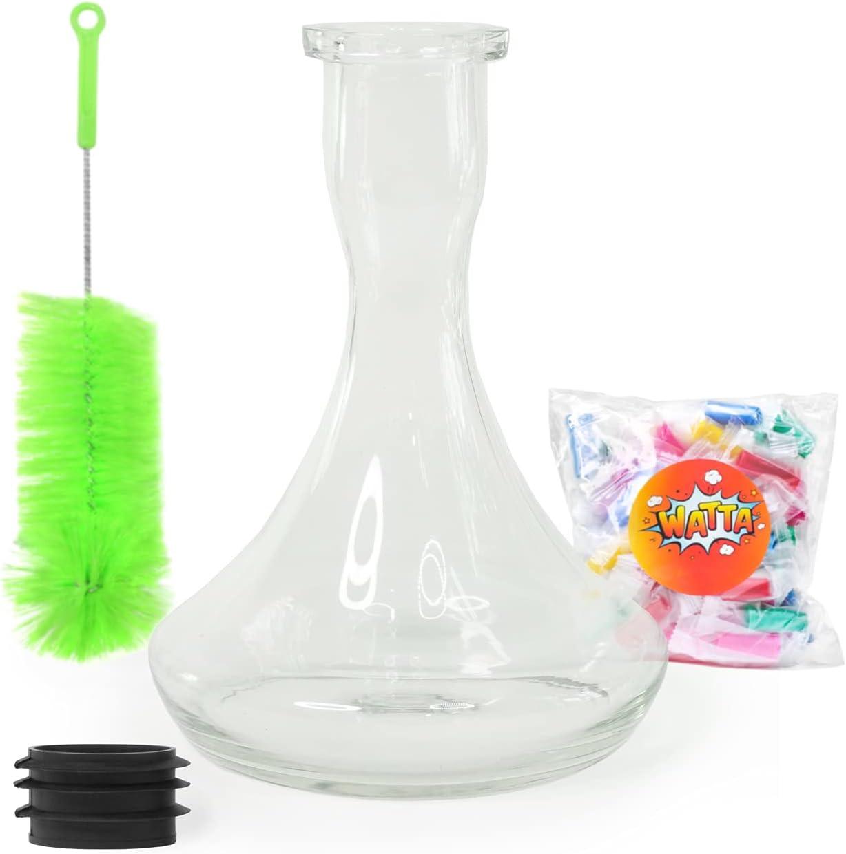 Base transparente para cachimba | Hookah Glass Vase | Cepillo Limpleza Para Base | Goma | Desechable Boquillas WAT45153