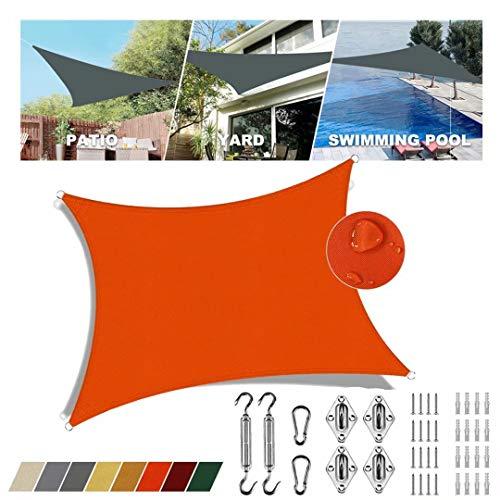 Sonnensegel falt Orange quadratisch 2.5x4.5m 95% UV-Schutz Regenfeste Sonnenblende Atmungsaktiv Beiläufig Für Terrasse Mit Edelstahl-Befestigungszubehör