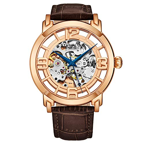 Stuhrling Original Skeleton Rose Gold Mens Watch - Winchester Mechanical Automatic Watch Self Wind Mens Dress Watch - with Premium Brown Leather Band