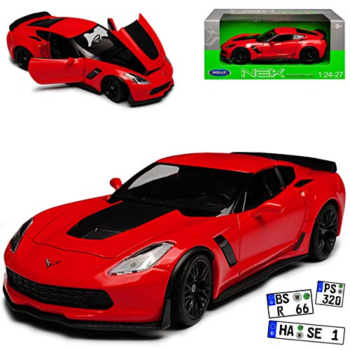 Welly Chevrolet Corvette C7 Z06 Coupe Rot mit Schwarz Ab 2013 1/24 Modell Auto