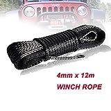 Eslinga 4 mm x 12 m sintética del Torno línea de Fibra Cuerda de Remolque Cable Accesorios del Coche for 4X4 / ATV/UTV / 4WD / Off-Road Portabicicletas (Color Name : Gray)