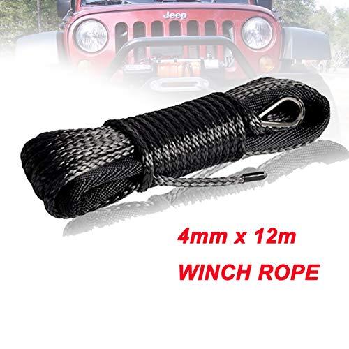 yingweifeng-01 Cuerda de cabrestante 4 mm x 12 m sintética del Torno línea de Fibra Cuerda de Remolque Cable Accesorios del Coche for 4X4 / ATV/UTV / 4WD / Off-Road (Color Name : Gray)