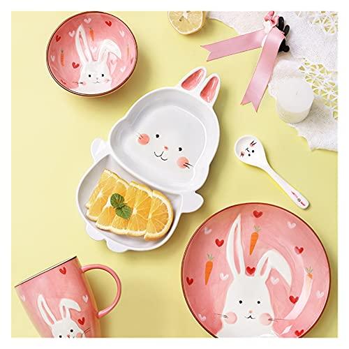 Red Peony Wangweiming Conjunto de vajillas de Desayuno para niños Forma de Animales de Dibujos Animados Home Comer Plates División Creativa Niños Lindos Platos WWM (Color : Rabbit Bowl)
