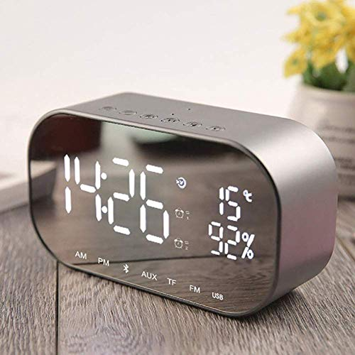 szlsl88 Reloj Despertador con Altavoz, Inalámbrico Bluetooth Reloj Despertador Espejo Superficie LED Dual Altavoz para Dormitorio Sobremesa Mesita - Plateado, Free Size