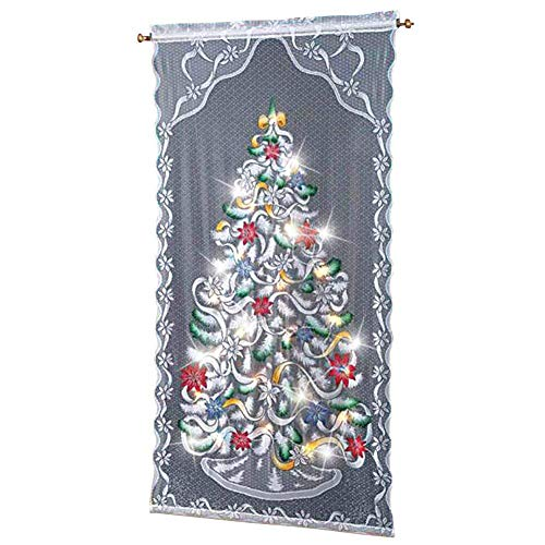 """Trenton Gifts Christmas Tree Curtain Panel   Lighted   Multi-Color   40"""" W x 84"""" L"""