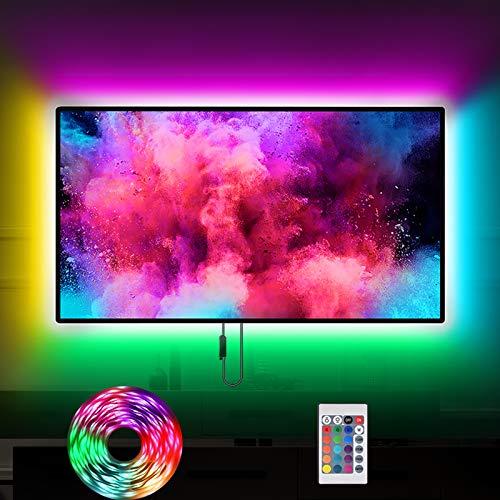 KSIPZE LED Strip RGB 3m LED Streifen Licht 5050 LED Stripes TV Hintergrundbeleuchtung Lichtband mit Netzteil, Fernbedienung Leiste Band für 46-60 Zoll LED Fernseher Beleuchtung