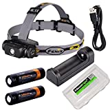 EdisonBright Fenix HL55 CREE LED 900 Lumen Headlamp with Fenix are-X1 Battery Charger, 2 X Fenix 18650 ARB-L2S 3400mAh Rechargeable Batteries BBX3 Battery case