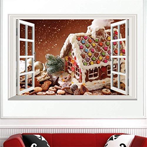 Fondos De Pantalla De Paisaje De Ventana Falsa Decoración De Navidad Pegatinas De Pared De Casa De Nieve Blanca Sala De Estar Tv Sofá Decoración Calcomanías De Pared Mural
