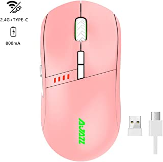 NACODEX I305 RGB Wireless/Wired Dual Modes Pink Computer Gaming Mouse, 16000 DPI Optical Mouse with 6 Breathing Light, 2.4G USB Frosted Feel Rechargeable Mouse for Laptop, PC, Chromebook, Computer