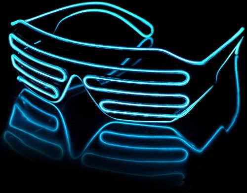 Balinco LED Brille mit 3 Blitzmodi - perfekt geeignet als Techno DJ | Festival | Halloween | Karneval | Fasching als Ergänzung zum Horror Kostüm (Türkis)