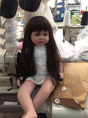 GAW Toys Silikon wiedergeboren Baby Doll Spielzeug 22 inch mit Langen Haaren Realistisch Baby Dolls 100{d93fa7200c00b00853c64e5c072dd658799443f484f6fb236f1102ff1825fd7c} Handmade Girl Reborn Kids Girls Holiday Wedding Reduce Angst Hilfe Autismus Schwangere Frauen