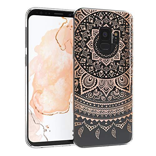 EAZY CASE Handyhülle Silikon mit Kameraschutz kompatibel mit Samsung Galaxy S9 im Mandala Design, Henna Motiv Hülle, Ultra dünn, Slimcover, Silikonhülle, Backcover, Transparent Rosé-Gold