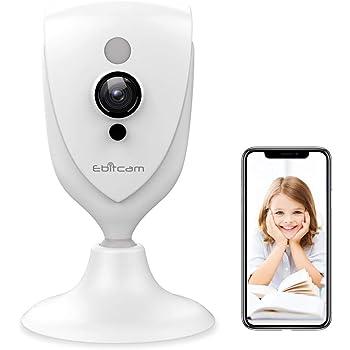 WiFi Kamera Ebitcam 1080P HD überwachungskamera Innen mit Bewegungsmelder und Speicher, WLAN IP Kamera Sicherheitskamera mit Nachtsicht, 2-Wege Audio Innenkamera, Home Haustier und Baby Monitor