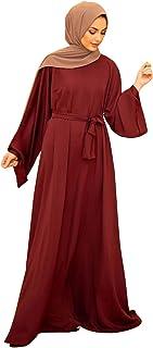 Baixnsj women muslim abaya long sleeve simple basic plus size solid colour abaya dress
