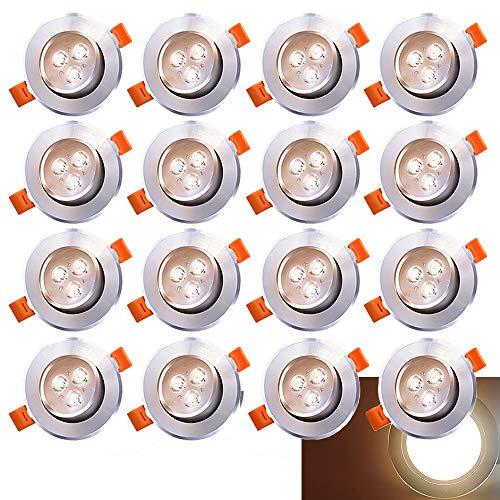 Hengda 20x LED Einbaustrahler Einbau-Spots Schwenkbar 3W Leuchtmittel Decken-Leuchte Einbaulampe Warmweiß Deckeneinbauleuchte Spots 230V