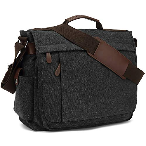 Umhängetaschen Herren aus Canvas Schultasche Queformat A4 Laptoptasche für 15,6 Zoll Laptop Arbeitstasche Aktentasche groß (Schwarz)