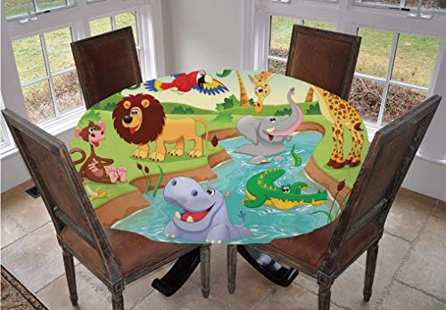 Kids Decor Round Tablecloth,Cartoon Safari African Animals Swimming in the Lake Elephant Lions And Giraffe Art Polyester Indoor Outdoor Tablecloth,36 Inch,for Spring/Summer/Party/Picnic Multi