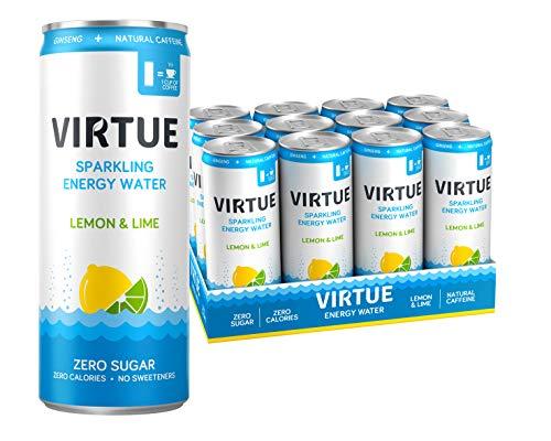VIRTUE Energy Water - Healthy Energy Drink - Zero Sugar, Zero Calories (Lemon & Lime, 12 pack) (Lemon & Lime)
